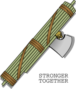 "fasces with caption ""stronger together"""
